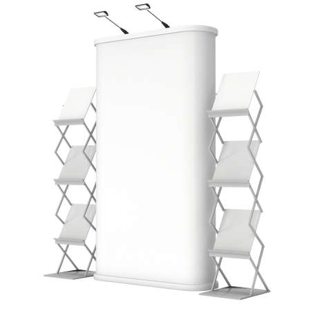 exhibidor: Stand de feria y de revistas representan revistas blanco y blanco. 3d aislado en el fondo blanco. Alta resoluci�n. Plantilla de anuncio para su dise�o expo.