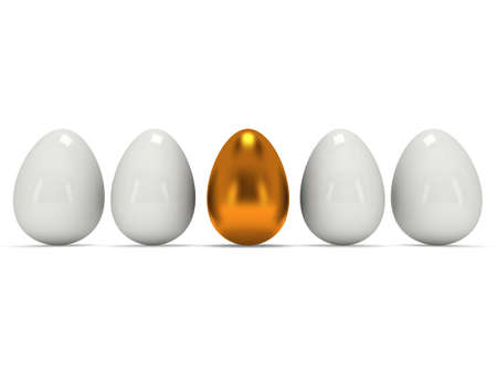 alone in crowd: Golden egg in a row of the white eggs. 3D render. Easter, out of crowd, business concept Stock Photo