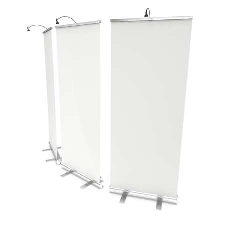 trade show: Blank Roll Up Banner Stand Group. Trade show booth white and blank. 3d render illustration isolated on white background. Template mockup for your expo design. Stock Photo