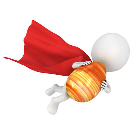 super man: Brave superhero with red cloak fly with Easter Egg. Isolated on white 3d man. Easter holiday and super power concept Stock Photo