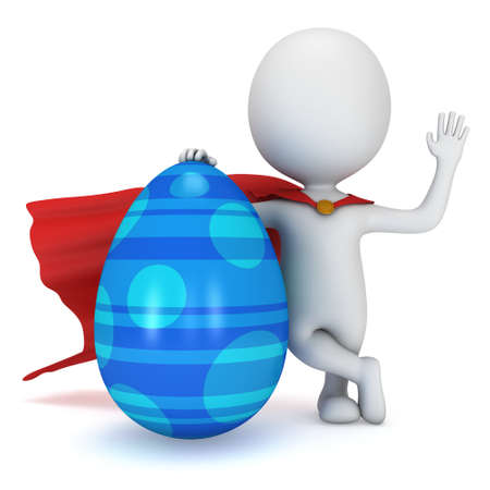ornate background: Brave superhero with red cloak with Easter Egg. Isolated on white 3d man. Easter holiday and super power concept. Say hello or welcome Stock Photo