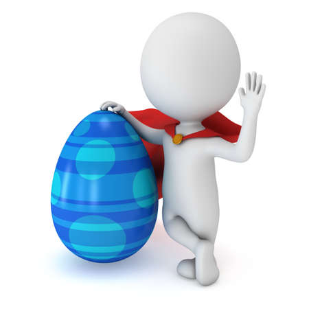 say hello: Brave superhero with red cloak with Easter Egg. Isolated on white 3d man. Easter holiday and super power concept. Say hello or welcome Stock Photo