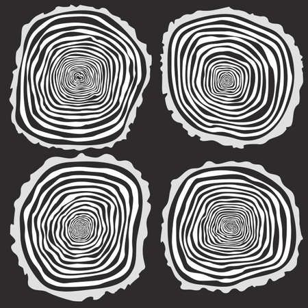 rings on a tree cut: Set of four vector tree rings background and saw cut tree trunk. Conceptual graphics.