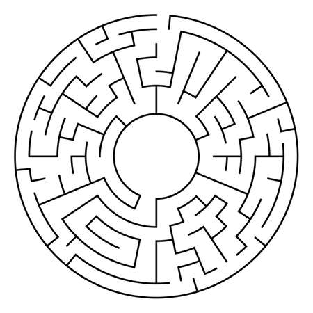 leading the way: Circle Maze. Labyrinth with Entry and Exit. Find the Way Out Concept. Transportation. Logistics Abstract Background Concept. Transportation and Logistics Concept. Vector Illustration.