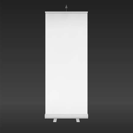 Blank Roll Up Banner Stand. Trade show booth white and blank. 3d vector illustration isolated on white background. Template mockup for your expo design.
