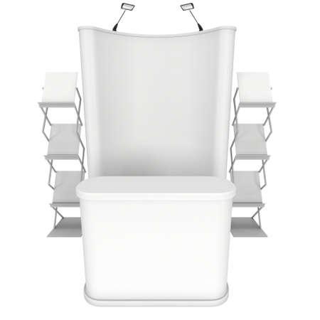 exhibitor: stand de feria. Pop-up stand de recepción y de revistas en blanco y blanco. 3d aislado en el fondo blanco. Alta resolución. Plantilla de anuncio para su diseño expo.