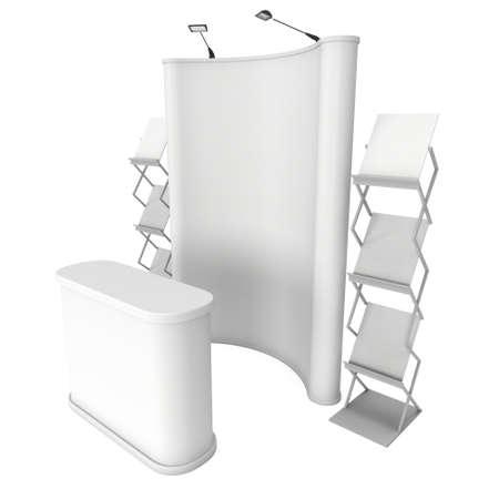 expositor: stand de feria. Pop-up stand de recepción y de revistas en blanco y blanco. 3d aislado en el fondo blanco. Alta resolución. Plantilla de anuncio para su diseño expo.