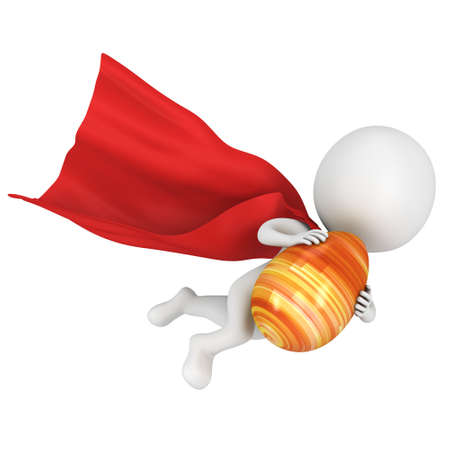 super man: Brave superhero with red cloak fly with Easter Egg. Isolated on white 3d man. Easter holiday and super fast delivery concept Stock Photo