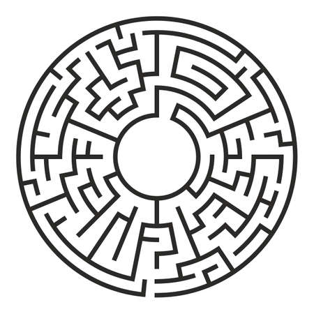 Circle Maze. Labyrinth with Entry and Exit.