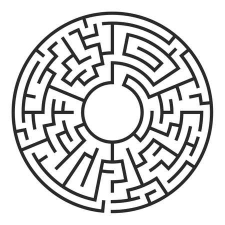 Labyrint van de cirkel. Labyrint met in- en uitstappen. Stock Illustratie