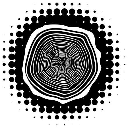 rings on a tree cut: vector tree rings background and saw cut tree trunk on halftone blot.