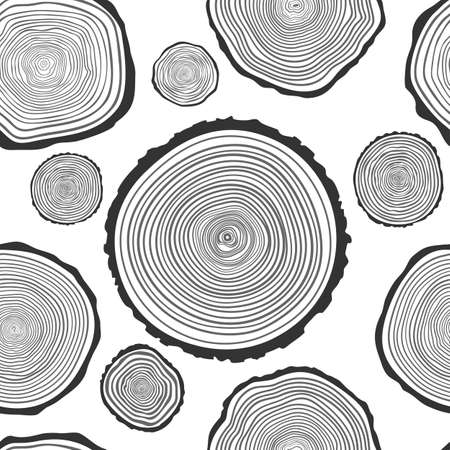woodpile: Tree Rings Seamless Vector Pattern. Illustration