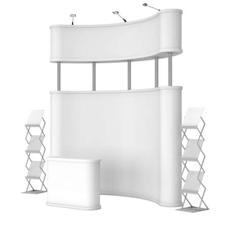 popup: Trade show booth. Pop-up stand reception desk and magazine rack white and blank. Stock Photo