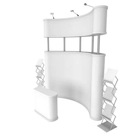 exhibidor: stand de feria. Pop-up stand de recepci�n y de revistas en blanco y blanco. 3d aislado en el fondo blanco. Alta resoluci�n. Plantilla de anuncio para su dise�o expo.