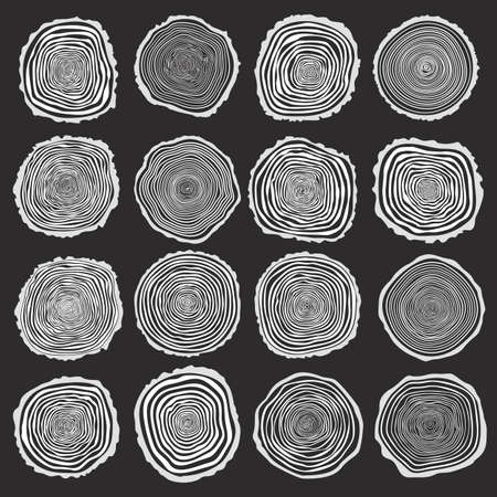 Collection of vector tree rings background and saw cut tree trunk. Conceptual graphics. White on dark background