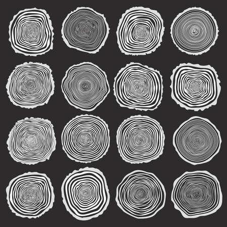 Sammlung von Vektor-Baumringen Hintergrund und sah Baumstamm geschnitten. Konzeptionelle Grafik. Weiß auf dunklem Hintergrund Illustration