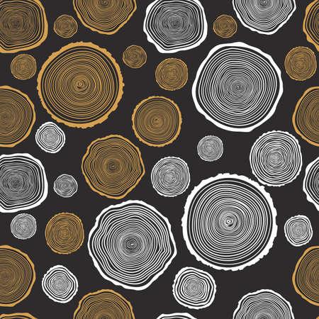 트리 반지 원활한 벡터 패턴입니다. 톱 나무 줄기 배경을 보았다. 벡터 일러스트 레이 션. 일러스트
