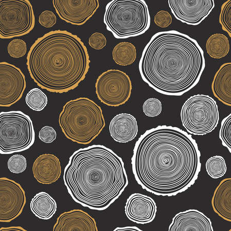 Tree Rings Seamless Vector Pattern. Saw cut tree trunk background. Vector Illustration. Vettoriali