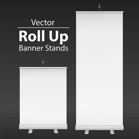 trade show: Blank Roll Up Banner Stands. Trade show booth white and blank. 3d vector illustration on dark background. Template mockup for your expo design.