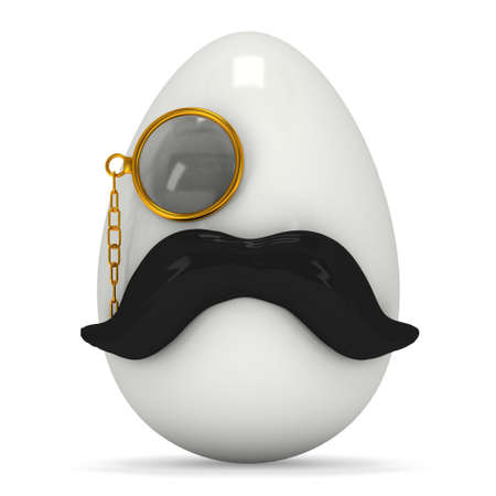 Easter Egg with mustache and monocle. Hipster Easter. 3d render isolated on white background.