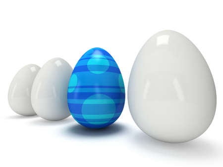 alone in crowd: Blue easter egg in a row of the white eggs. 3D render. Easter, out of crowd, business concept Stock Photo