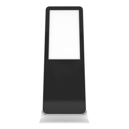 exhibitor: Pantalla LCD Stand. En blanco stand de feria. 3d aislado en el fondo blanco. Alta resolución. Plantilla de anuncio para su diseño expo.
