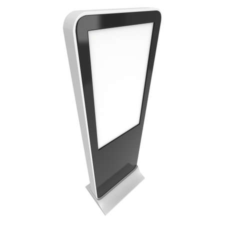 lcd display: LCD Display Stand. Blank Trade Show Booth. 3d render isolated on white background. High Resolution. Ad template for your expo design.