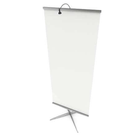 expo: Blank Roll Up Expo Banner Stand. Trade show booth white and blank. 3d render illustration isolated on white background. Template mockup for your expo design. Stock Photo