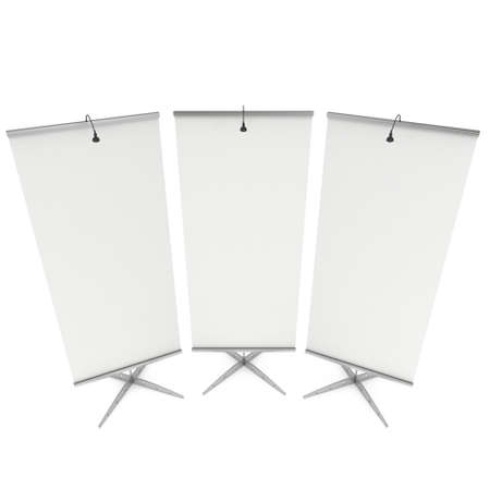 trade show: Blank Roll Up Expo Banner Stand. Trade show booth white and blank. 3d render illustration isolated on white background. Template mockup for your expo design. Stock Photo
