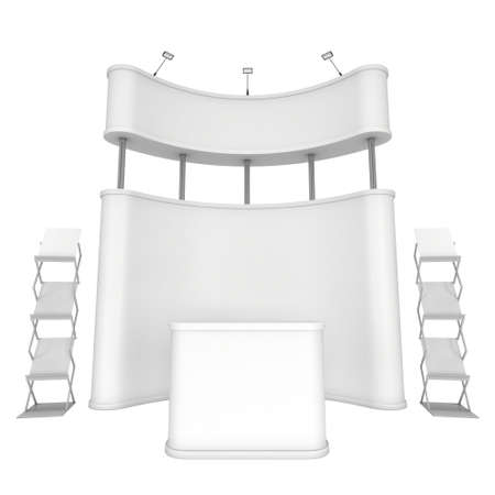 popup: Trade show booth. Pop-up stand reception desk and magazine rack white and blank. 3d render isolated on white background. High Resolution. Ad template for your expo design.