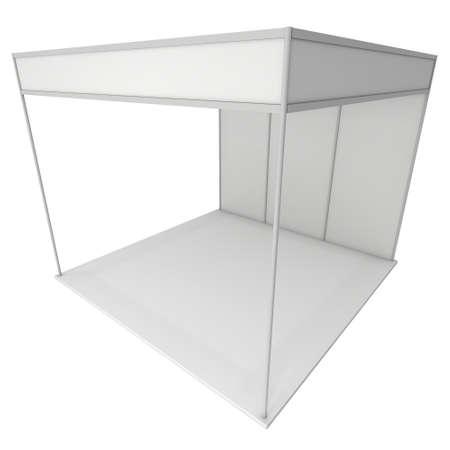 exhibitor: Stand de feria en blanco y negro. Exposición cubierta en blanco con los caminos del trabajo. 3d aislado en el fondo blanco. Plantilla de anuncio de alta resolución para su diseño Expo.