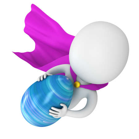 super man: Brave superhero with purple cloak fly with Easter Egg. Isolated on white 3d man. Easter holiday and super fast delivery concept