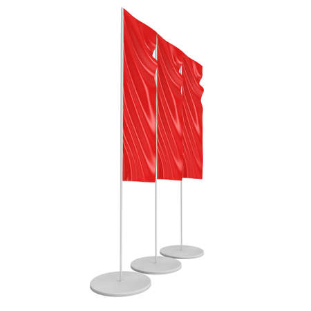 beach ad: Flag Blank Red Expo Banner Stand. Trade show booth. 3d render illustration isolated on white background. Template mockup for your expo design.