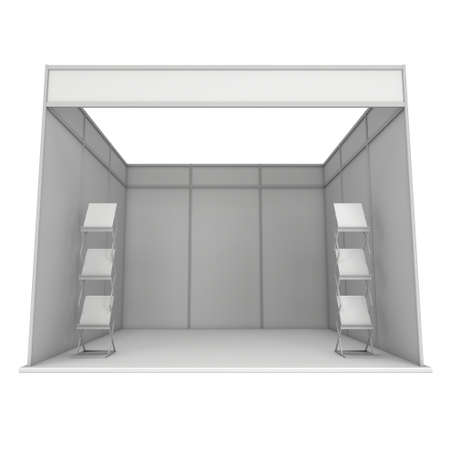 expo: Trade Show Booth White and Blank with Brochure Display. Blank Indoor Exhibition with Work Paths. 3d render isolated on white background. High Resolution Template for your expo design. Stock Photo