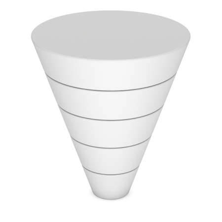three layered: Marketing Funnel Sales Symbol. 3d render isolated on white background. Stock Photo
