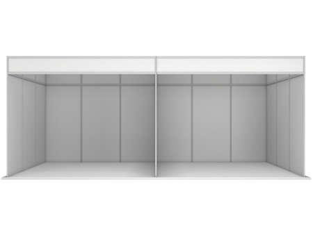 comercio: Stand de feria en blanco y negro. Exposición cubierta en blanco con los caminos del trabajo. 3d aislado en el fondo blanco. Plantilla de anuncio de alta resolución para su diseño Expo.