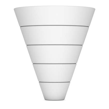 Marketing Funnel Sales Symbol. 3d render isolated on white background. Conversion Funnel Sale Chart White and Blank. Concept of Funnel and Sales.