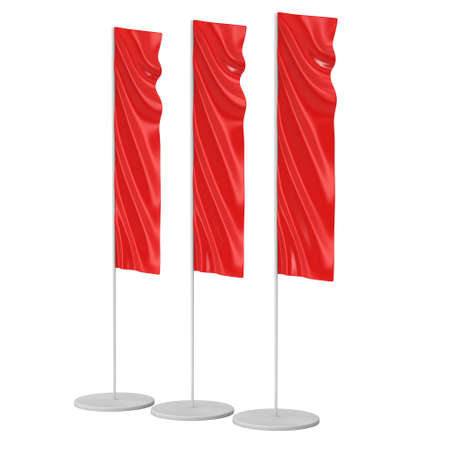 expo: Flag Blank Red Expo Banner Stand. Trade show booth. 3d render illustration isolated on white background. Template mockup for your expo design.