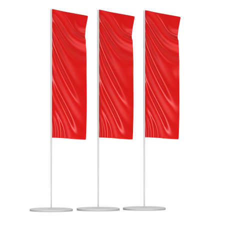 red flag up: Flag Blank Red Expo Banner Stand. Trade show booth. 3d render illustration isolated on white background. Template mockup for your expo design.