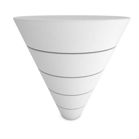 funnel: Marketing Funnel Sales Symbol. 3d render isolated on white background. Conversion Funnel Sale Chart White and Blank. Concept of Funnel and Sales.