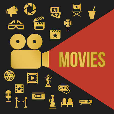 movie screen: Cinema Retro Video Projector with Spotlight. Film Projector Highlights Word Movies. Template vector concept with cinema icons. Illustration