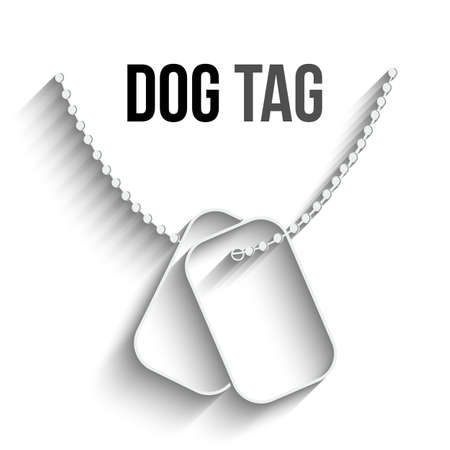dog tag: Dog Tags with Chain icon isolated on white background. Vector Dog Tag silhouette. Dog Tag Soldier ID