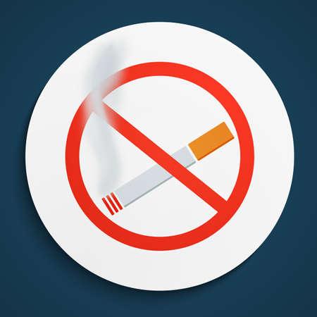 pernicious habit: No Smoking Sign on White Round Plate. No Smoking forbidden symbol.