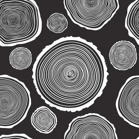 tree rings: Tree Rings Seamless Vector Pattern. Saw cut tree trunk background. Vector Illustration. Illustration