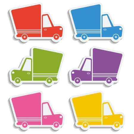 Van delivery set of blank stickers. Free delivery, fast delivery, free shipping colorful logo icons set with blend shadows on white background. Vector.