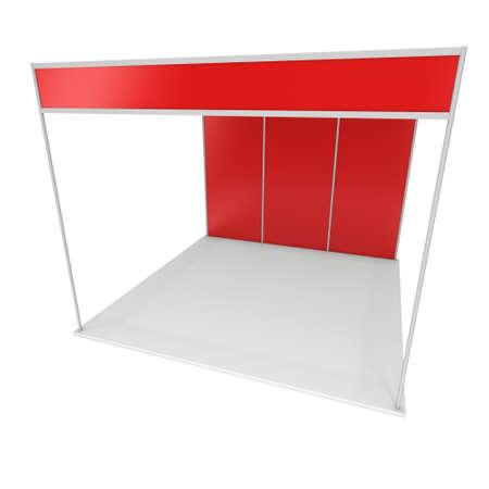 exhibitor: Stand de feria rojo y en blanco. Exposición cubierta en blanco con los caminos del trabajo. 3d aislado en el fondo blanco. Plantilla de anuncio de alta resolución para su diseño Expo.