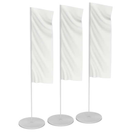 expo: White Flag Blank Expo Banner Stand. Trade show expo booth. 3d render illustration isolated on white background. Template mockup for your expo design.