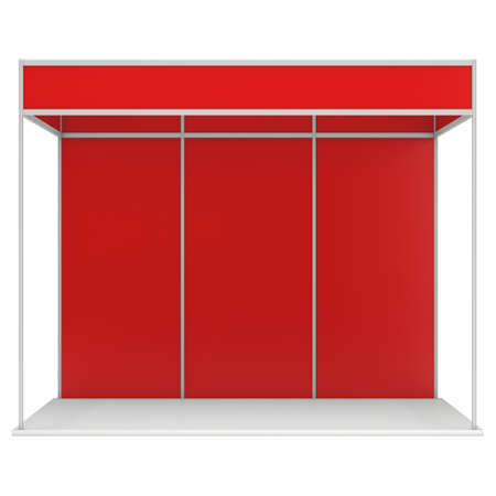 Trade Show Booth Red and Blank. Blank Indoor Exhibition with Work Paths. 3d render isolated on white background. High Resolution Ad Template for your Expo design.