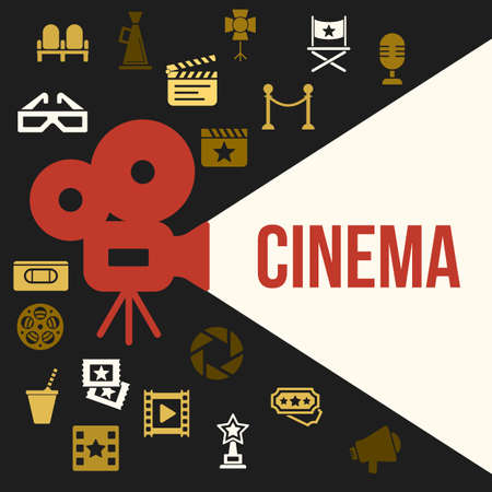 cinematograph: Cinema Retro Video Projector with Spotlight. Film Projector Highlights Word Cinema. Template Vector Concept with Projector Icon. Illustration