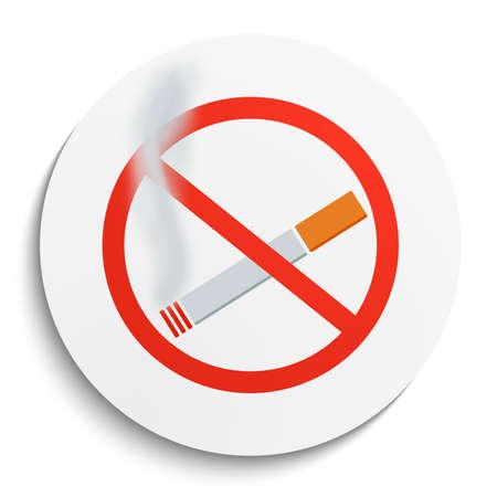 smoldering: No Smoking Sign on White Round Plate. No Smoking forbidden symbol.  No Smoking Vector Illustration. Illustration